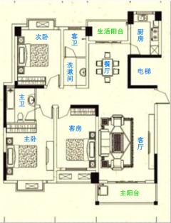 一梯两户+双阳台南北对流、采光好+高品质硬装,紫金大邸 3室
